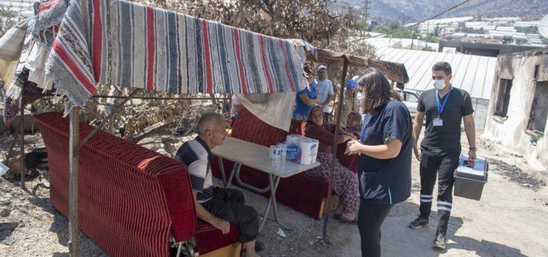 Yangından etkilenen bölge halkına sağlık desteği
