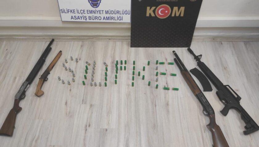 Silifke'de çok sayıda silah ele geçirildi
